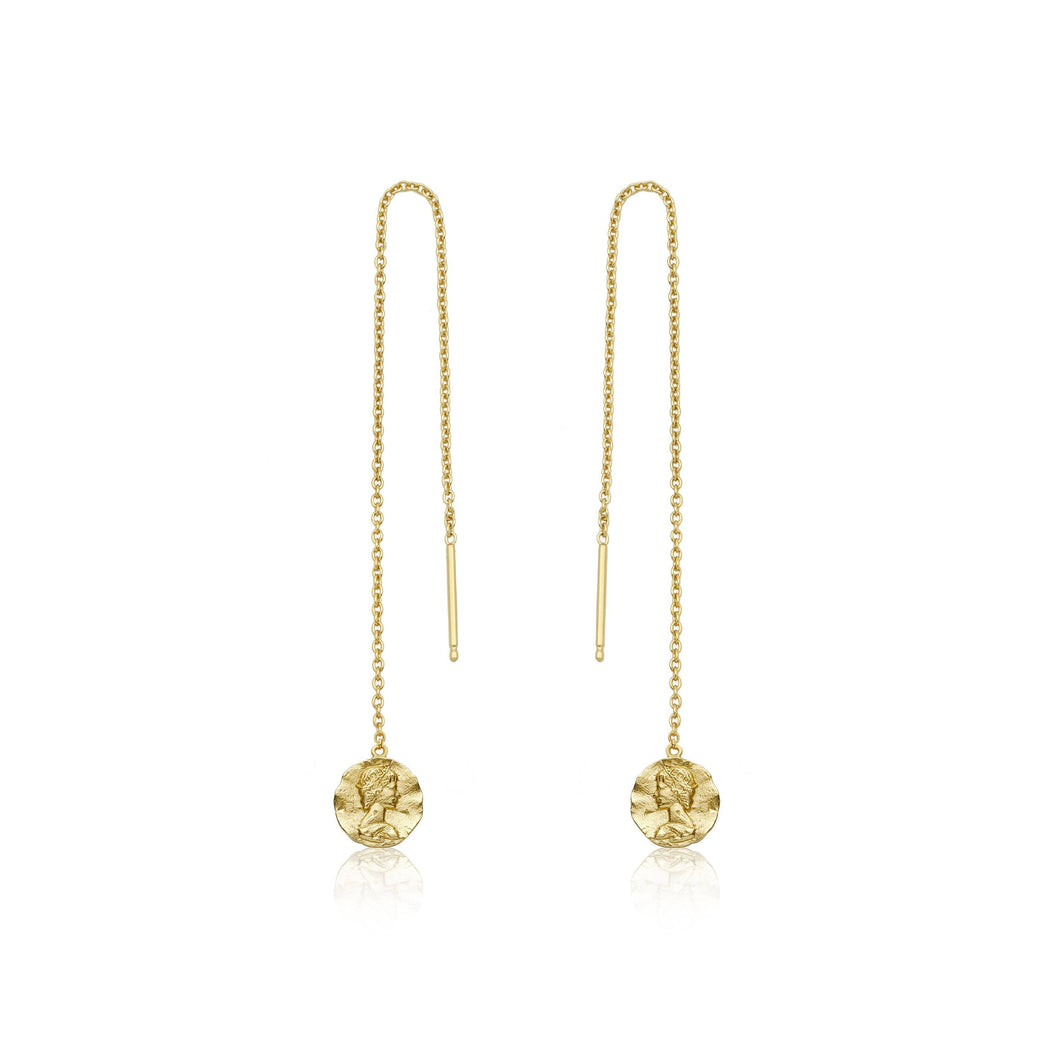 Coins Zeus Chain Drop Gold Earrings Velvet and Parade