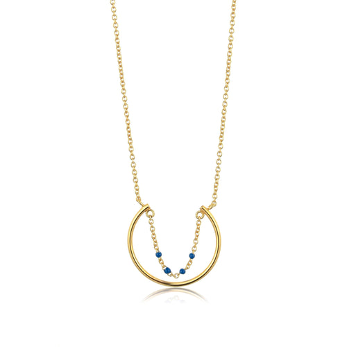 Connect the Dots Lapis Enamel Circle Necklace Jewellery Ania Haie