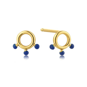 Connect the Dots Triple Lapis Enamel Circle Earrings Jewellery Ania Haie