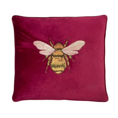 Fuchsia Embroidered Bee Cushion Soft Furnishing Riva Home