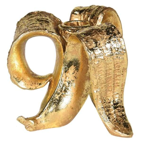 Gold Banana Skin Candle Holder Homeware Coach House