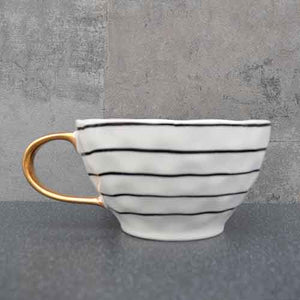 Gold Black and White Wave Mug Homeware Candlelight