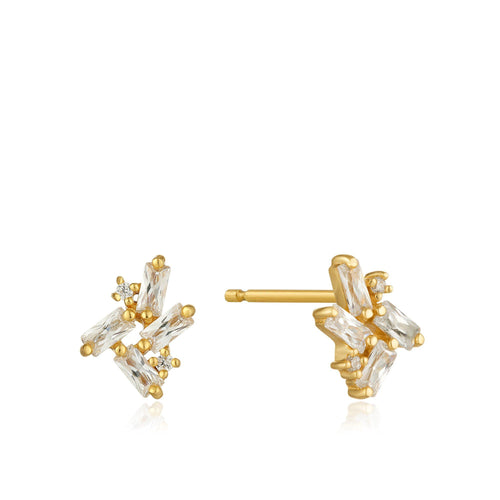 Gold Cluster Stud Earrings Jewellery Ania Haie