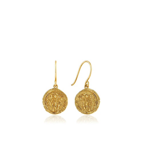 Gold Emblem Hook Earrings Jewellery Ania Haie