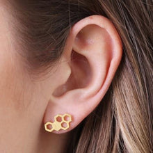 Load image into Gallery viewer, Gold Honeycomb Stud Earrings Jewellery Lisa Angel