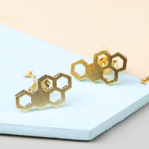 Gold Honeycomb Stud Earrings Jewellery Lisa Angel