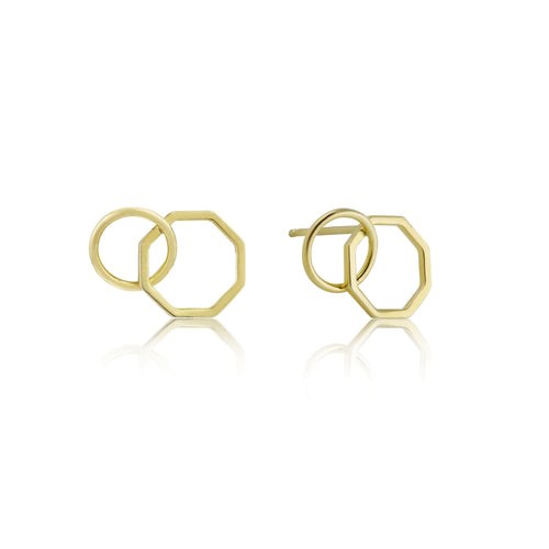 Gold Two Shape Earrings Jewellery Ania Haie