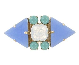 Green and Pale Blue Adjustable Miami Ring Jewellery Philippe Ferrandis