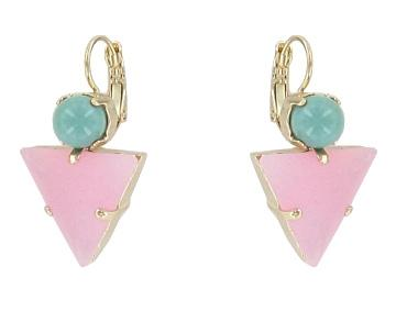 Green and Pale Pink Miami Earrings Jewellery Philippe Ferrandis