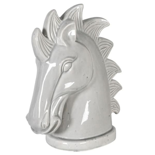 Grey Ceramic Horse Head Homeware Coach House