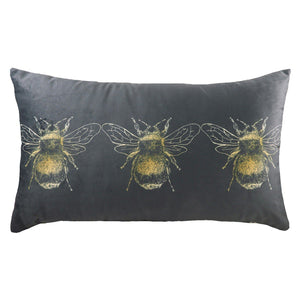 Grey Cushion with Bee Detail Soft Furnishing Riva Home