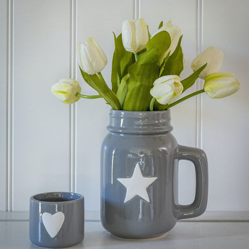 Grey Jug Vase with White Star Homeware Retreat