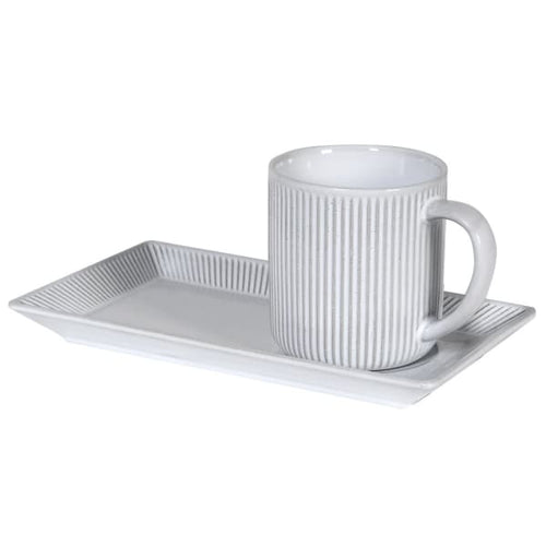 Grey Mug and Biscuit Saucer Homeware Coach House