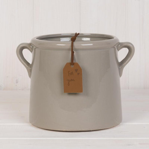 Grey Pot with Tag Homeware Teal
