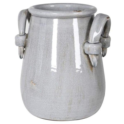 Grey Urn Vase with Handles Homeware Coach House