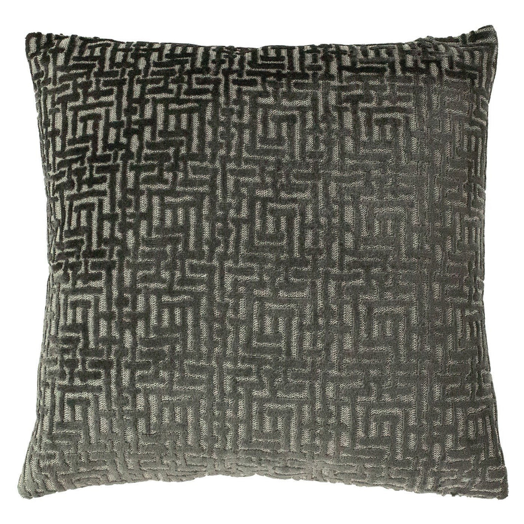 Grey Velvet Pattern Cushion Soft Furnishing Riva Home