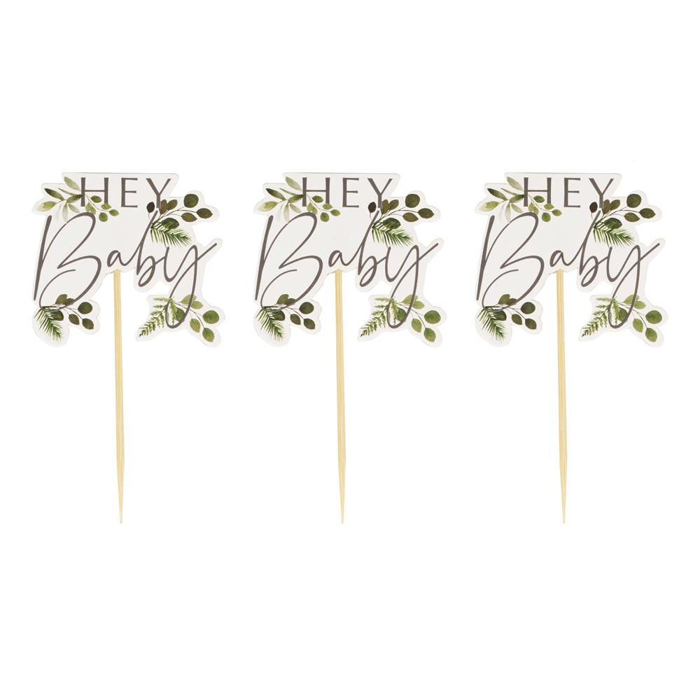 Hey Baby Shower Cupcake Toppers Party Ginger Ray