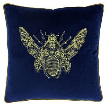 Insect Design Royal Blue Velvet Cushion Soft Furnishing Riva Home