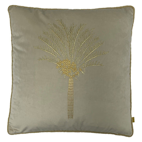 Ivory Desert Palm Velvet Cushion Soft Furnishing Riva Home