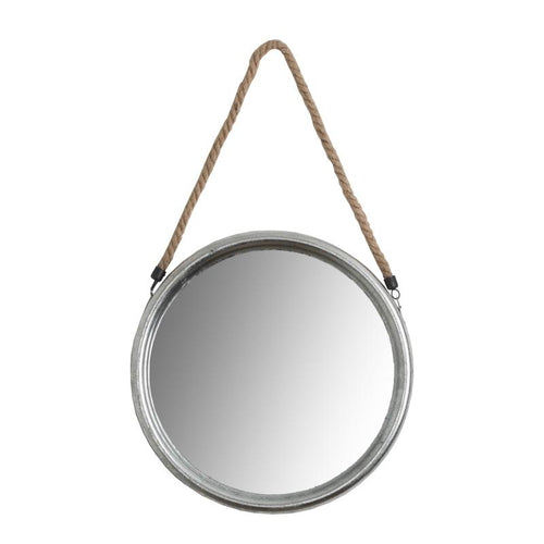 Large Round Silver Mirror with Rope Homeware Hill Interiors