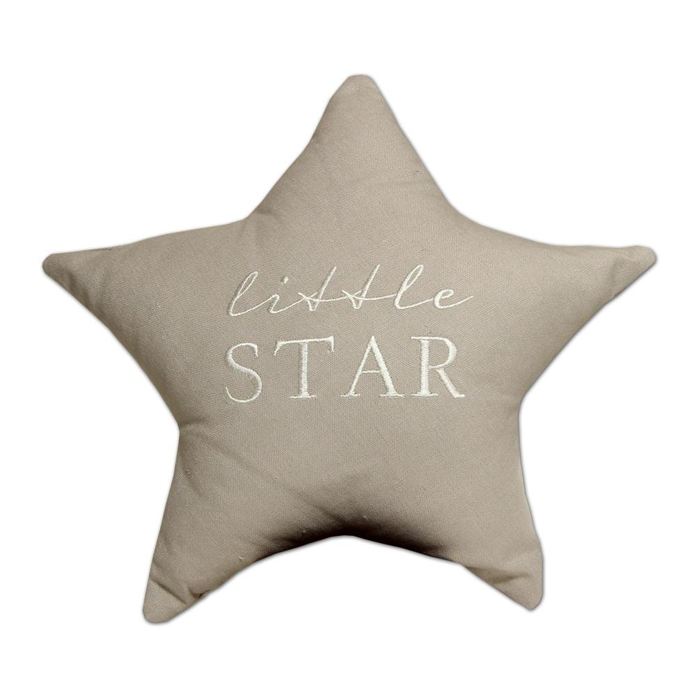 Little Star Grey Linen Cushion Soft Furnishing Widdop