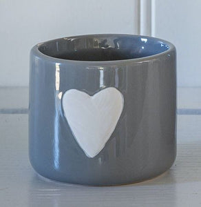 Medium Grey Pot with White Heart Homeware Retreat