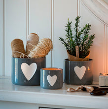 Load image into Gallery viewer, Medium Grey Pot with White Heart Homeware Retreat