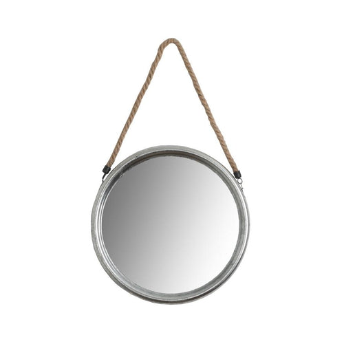 Medium Round Silver Mirror with Rope Homeware Hill Interiors