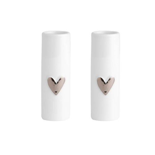 Mini Silver Heart Vases Set of 2 Homeware Rader