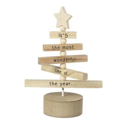 Most Wonderful Time Wooden Tree Christmas Heaven Sends