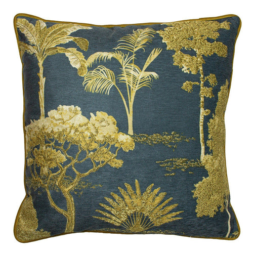 Navy and Ochre Botanical Cushion Soft Furnishing Riva Home