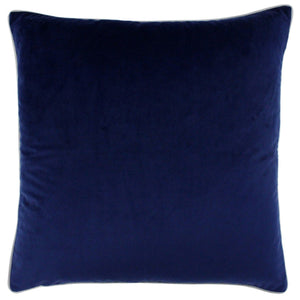 Navy and Silver Velvet Cushion Soft Furnishing Riva Home