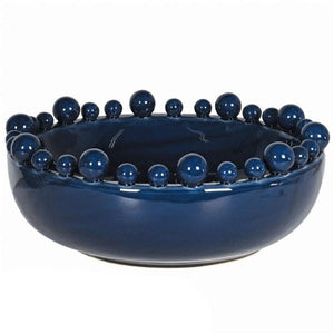 Navy Bowl with Ball Decoration Homeware Coach House