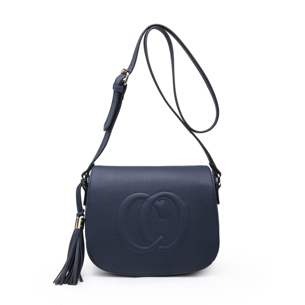 Navy CO Leather Look Crossbody Accessories House of Milan