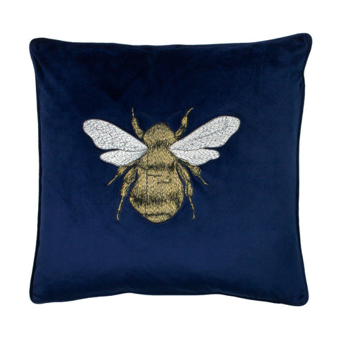 Navy Embroidered Bee Cushion Soft Furnishing Riva Home