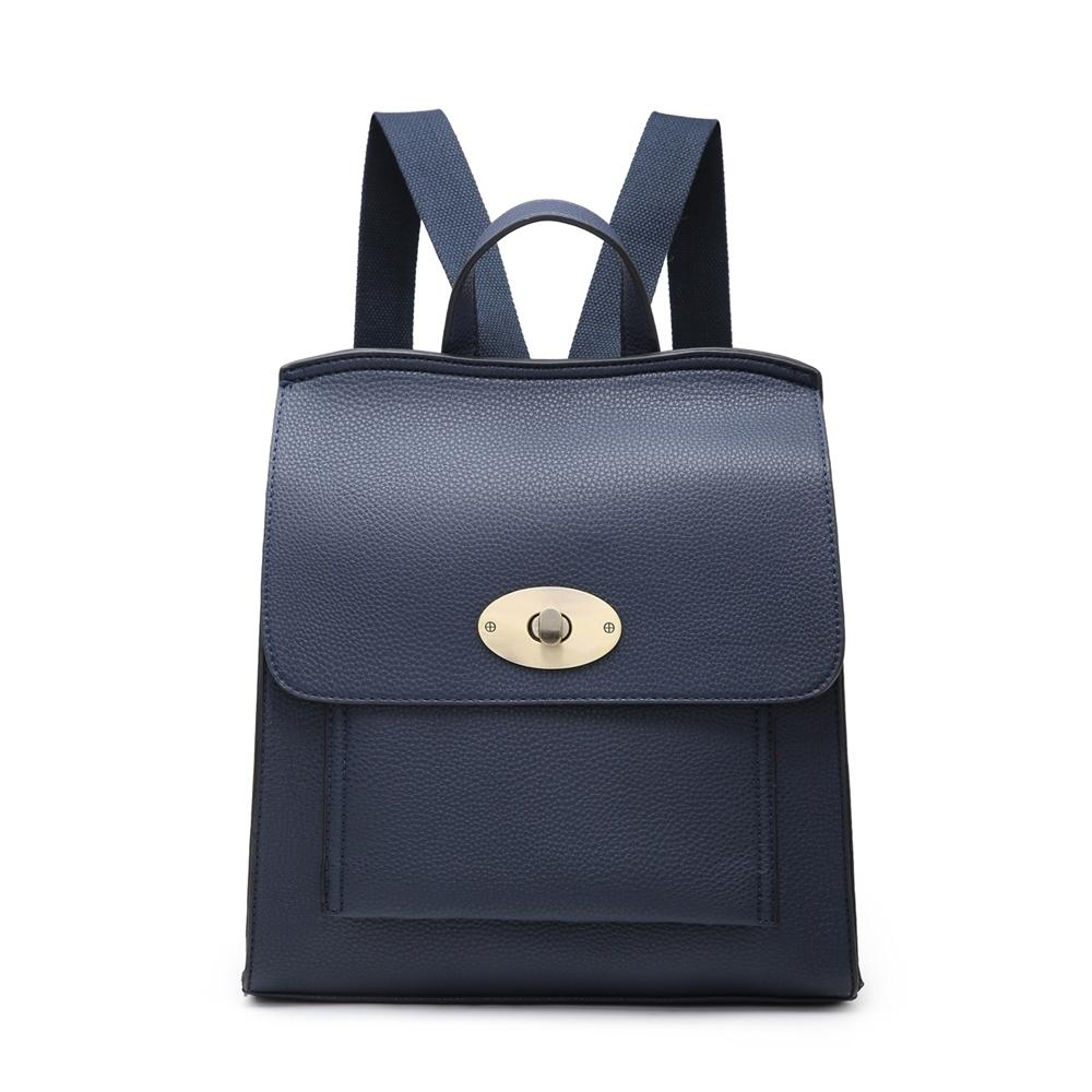 Navy Leather Look Rucksack Accessories House of Milan