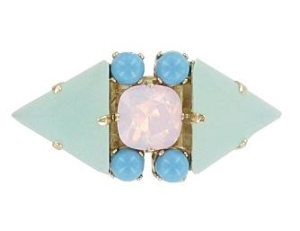 Pale Blue and Mint Adjustable Miami Ring Jewellery Philippe Ferrandis