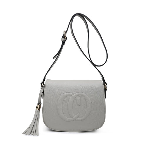 Pale Grey CO Leather Look Crossbody Accessories House of Milan
