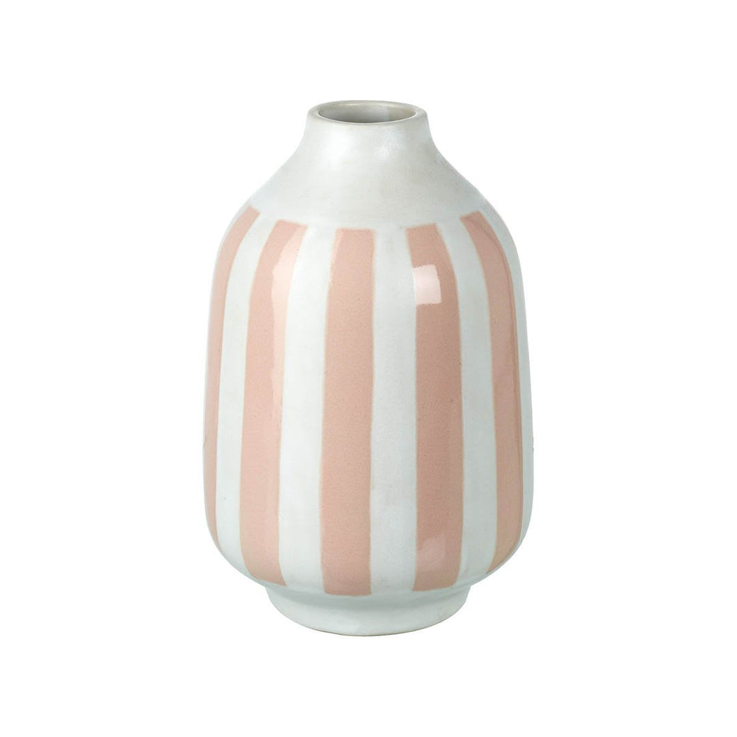 Pale Pink and White Stripe Vase Homeware Parlane