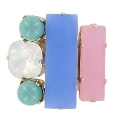 Pale Pink, Blue and Green Adjustable Ring Jewellery Philippe Ferrandis