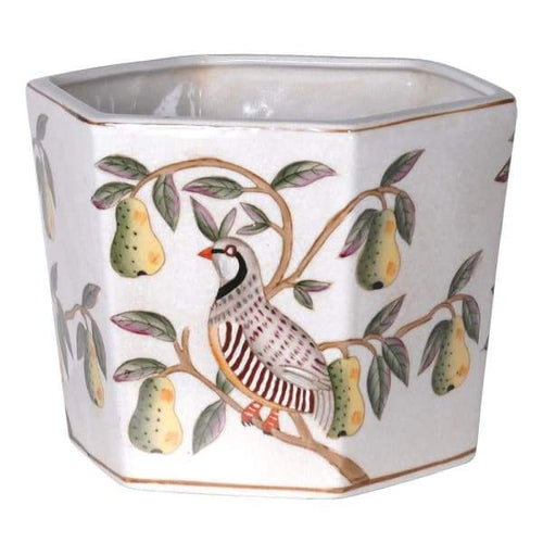 Partridge and Pear Flower Pot Homeware Coach House