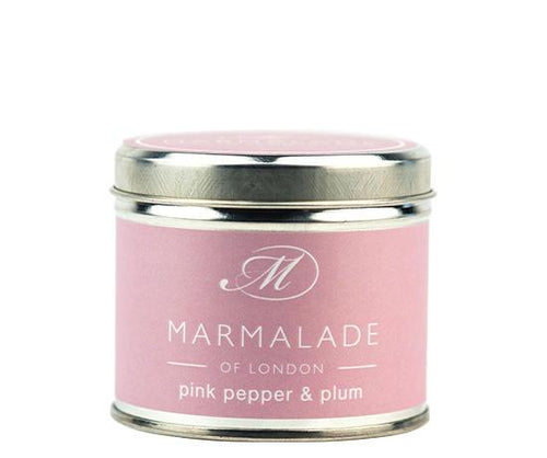 Pink Pepper and Plum Large Tin Candle Home Fragrance Marmalade