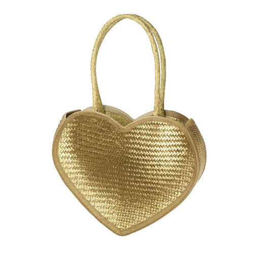 Rattan Gold Heart Bag Accessories Parlane