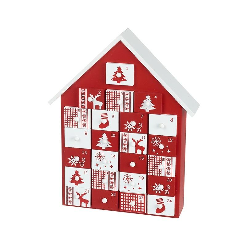 Red and White Wooden Advent House Christmas Heaven Sends