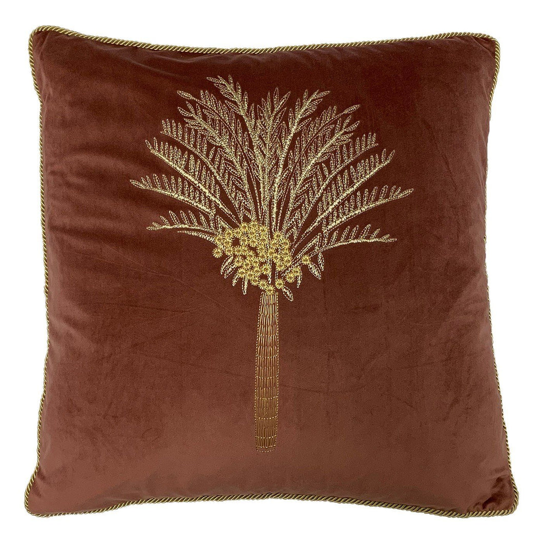 Rose Desert Palm Velvet Cushion Soft Furnishing Riva Home