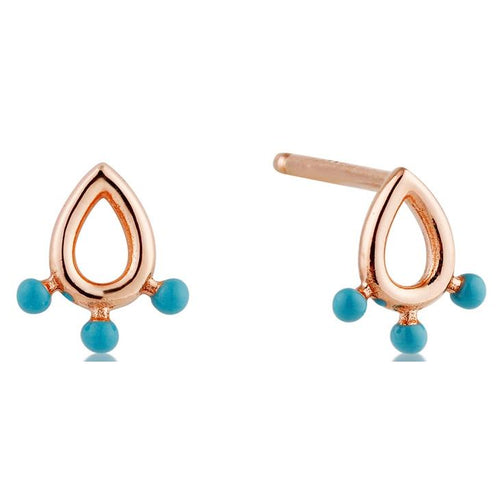 Rose Gold Dotted Raindrop Stud Earrings Jewellery Ania Haie