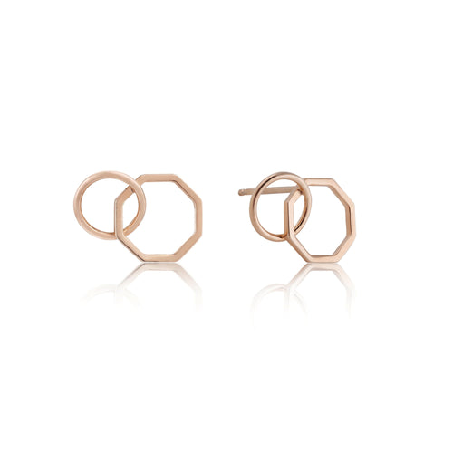 Rose Gold Two Shape Earrings Jewellery Ania Haie