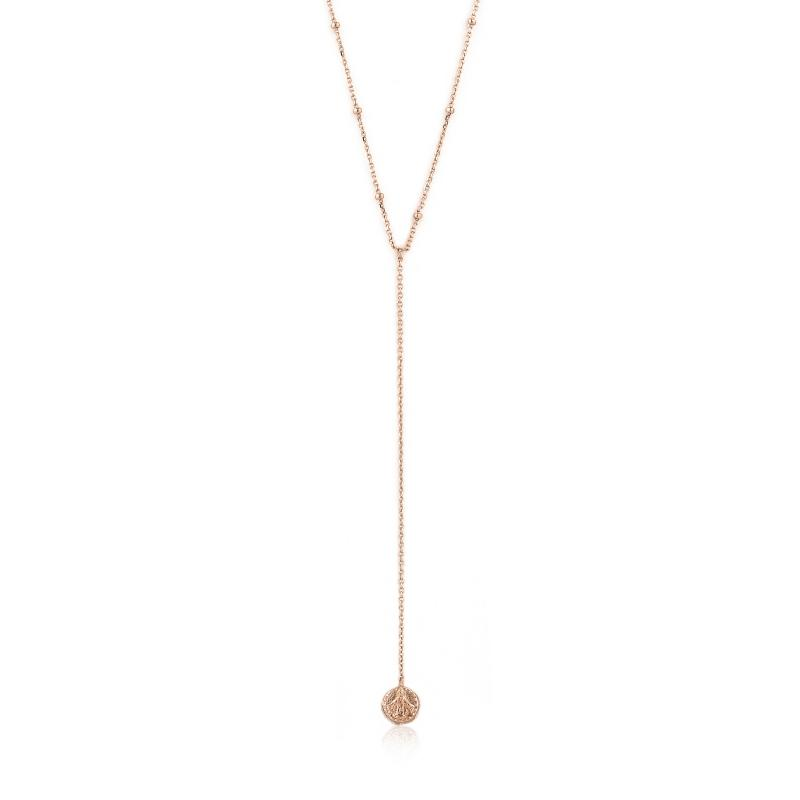 Rose Gold Y Drop Deus Necklace Jewellery Ania Haie
