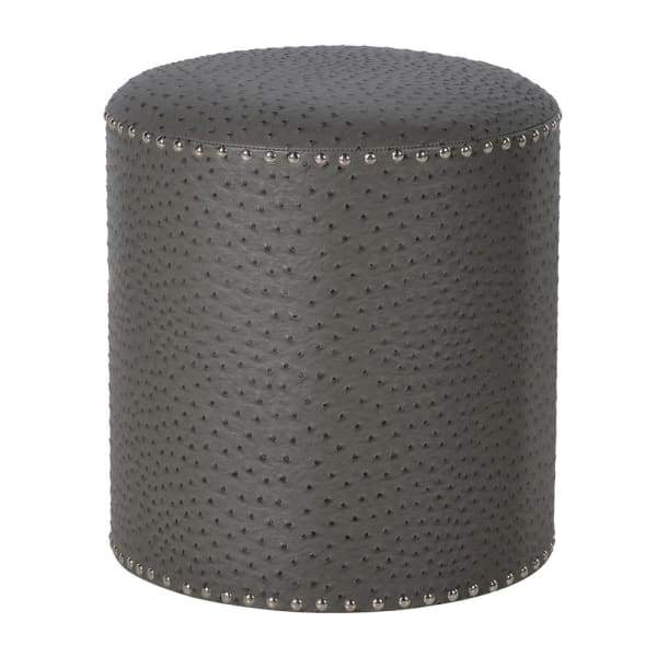 Round Grey Ostrich Effect Footstool Furniture Coach House