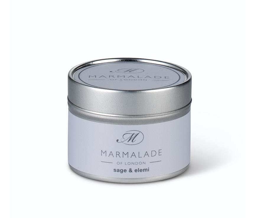 Sage and Elemi Tin Candle Home Fragrance Marmalade